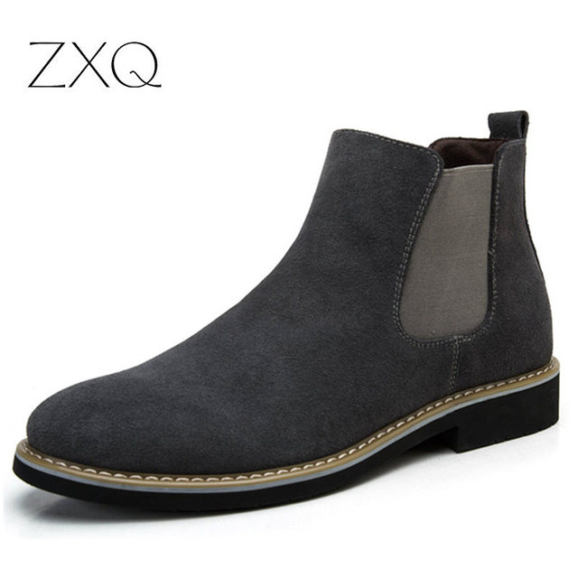 The Chelsea Boot Men Suede Hombre Martin Boots Low Heel Suede Leather Ankle Boots Vintage Sewing Thread Britain Botas