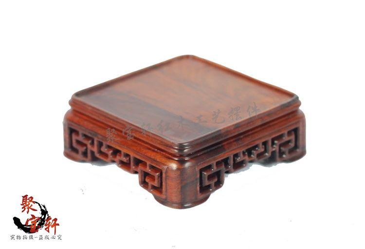 Annatto square seal base solid wood carving decoration stone Buddha vase handicraft furnishing articles