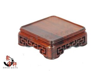 Annatto square seal base solid wood carving decoration stone Buddha vase handicraft furnishing articles