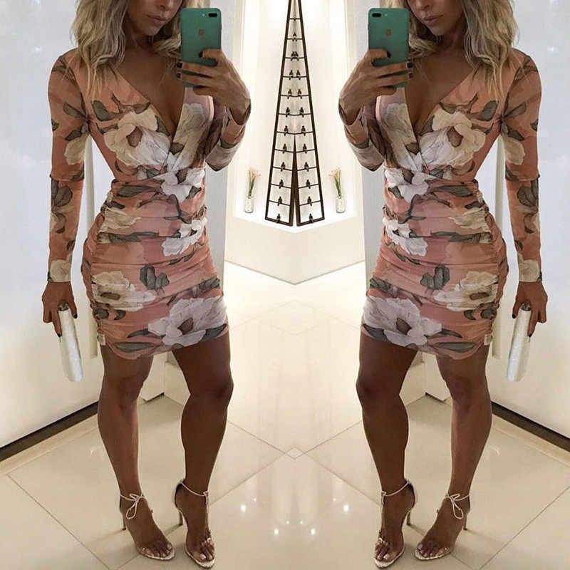 Summer Dress 2018 Women Casual Beach Short Dress V Neck Floral Long Sleeve Mini Dress Sexy Party Dresses Vestidos S-XXL