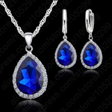 925 Sterling Silver Necklace Jewelry Set High Quality Rhinestone Crystal Necklaces Wedding Necklace Pendants For Women(China)
