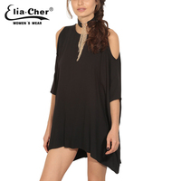 Eliacher Women Open Shoulder Autumn Blouse Plus Size Casual Women Clothing Fashion Black Shirt Loose Top