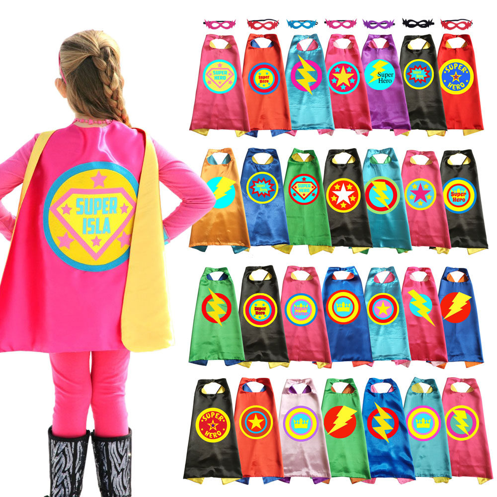 Heveer Superhero Cape and Mask for Kids 3 Sets Double-sided Satin Dress up Costumes with Felt Masks Boys Girls Fancy Dress Up Party