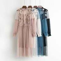 938aac0fd2 New Female Flower Sweet Gauze Pressure Lace Pleated One Piece Dress Waist  Women Thin Ceremonial Dress