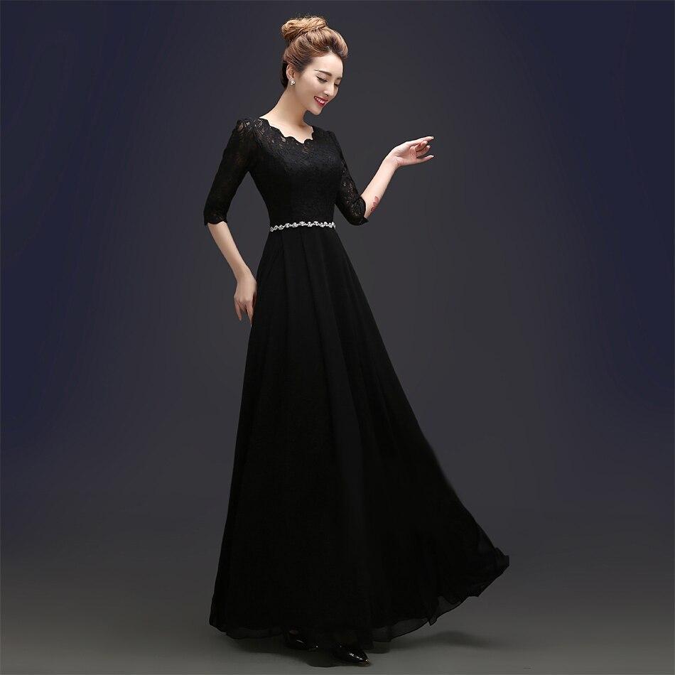 Aliexpress.com Comprar 2016 Por Encargo Elegante Negro Vestidos de Noche de Invierno Media Manga de Encaje Vestido De Festa Longo Robe De Soirée Largo de