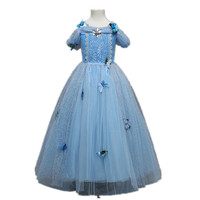kids girls princess dress costume children blue kids floor length evening gown halloween party wedding