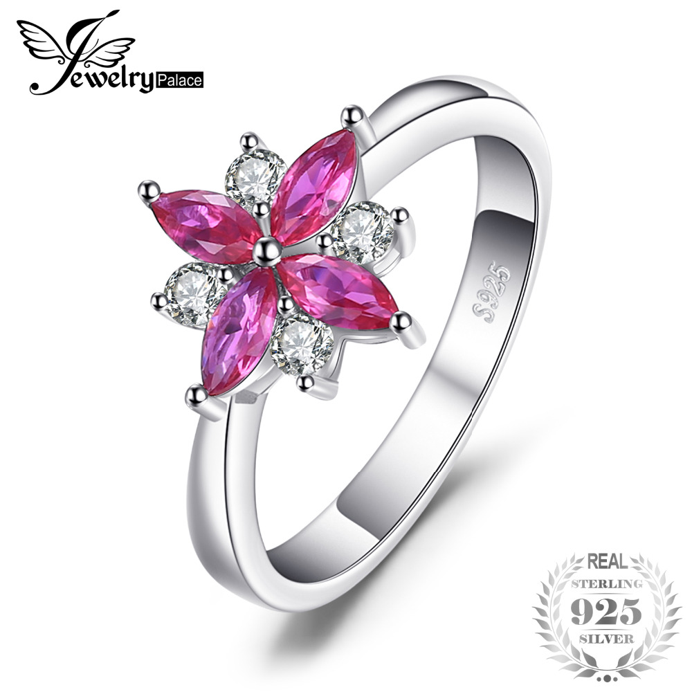 JewelryPalace virág 0.86ct létrehozott Ruby Ring valódi tiszta 925 - Finom ékszerek