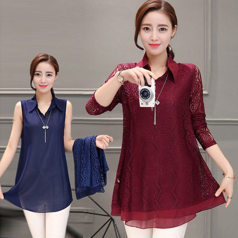 Lace Pathchwork Chiffon Two Pieces Blouse Women Casual Long Sleeve - Women's Clothing