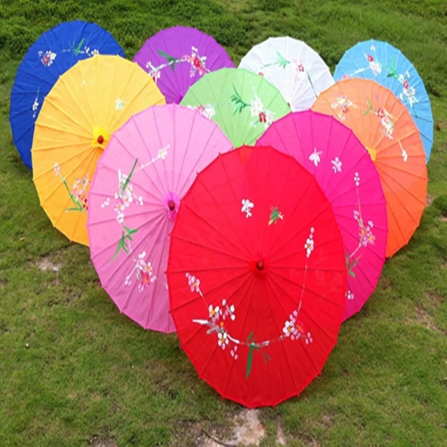 Free shipping One Piece hand-painted flower design decorative Chinese umbrellas for wedding with 12colors available
