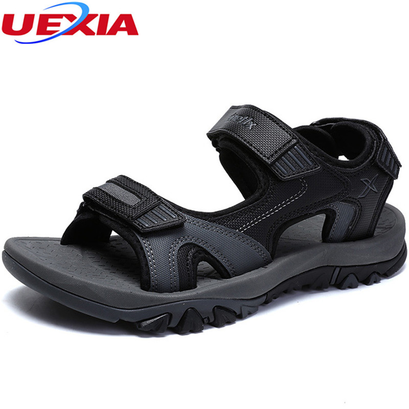 UEXIA Leather Summer Shoes Soft Men Sandals Shoes for Male Breathable Light Beach Casual Quality Walking Beach Sandals Footwear