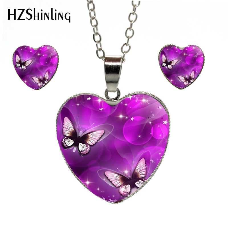 New Fashion Purple Magic Butterfly Heart Jewelry Set Beautiful and Mysterious Butterfly Photos Pendant Heart Necklace Jewerly