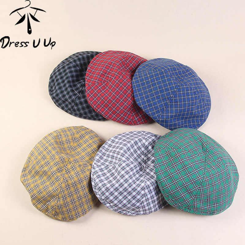 DRESSUUP, винтажный головной убор в клетку, шляпа, женская тонкая, дышащая, художественная, милая, восьмиугольная шапка