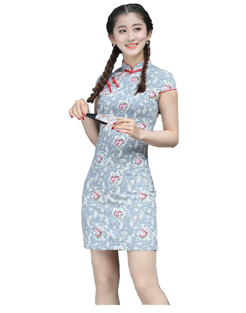 Free Shipping Women Short Chinese Traditional Cheongsam Linen Qipao ...