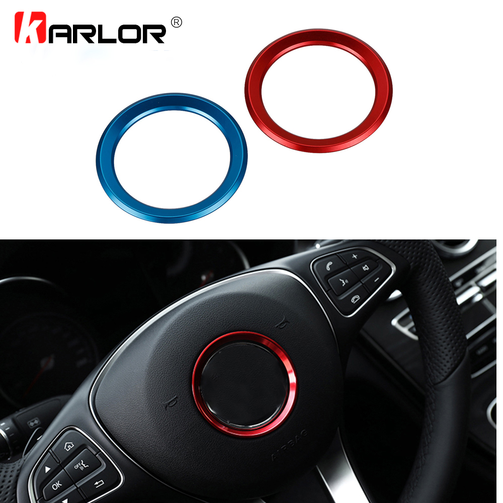 Car Styling Steering Wheel Trim Decorative Circle Cover Frame Aluminum Accessories For Mercedes Benz W205 C180 C180L C200 C260 circle