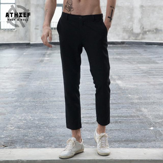 ATHIEF Mens Tela Tejida Delgada Altura Del Tobillo Fashion Street Style Pantalones de Traje de Poliéster ropa de Calle Pantalones Rectos Ocasionales Caliente