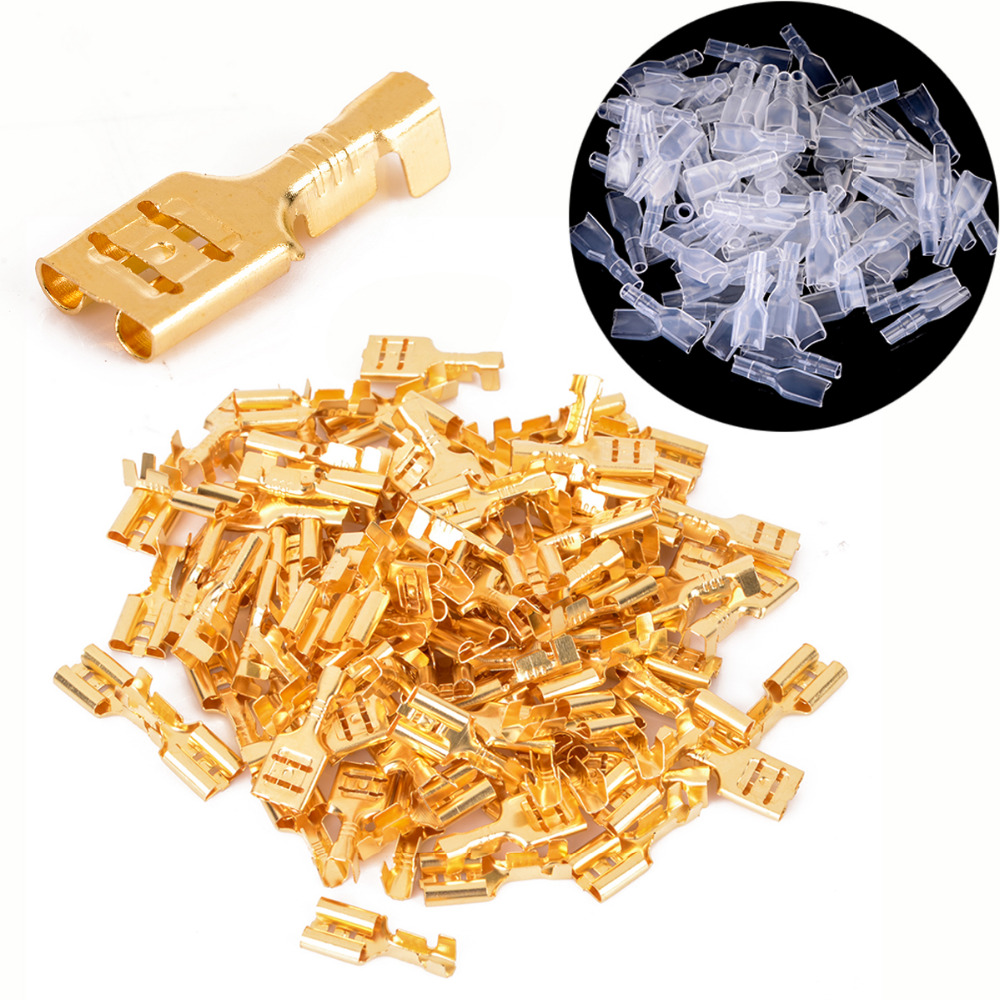100pcs Brass Female Spade Connectors 4.8mm Crimp Terminal with Insulating Sleeve 22-16AWG 0.5mm Thickness цена