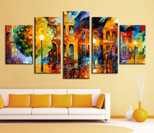 Hand Painted Night Street Landscape Oil Painting Modern Abstract 5 Piece Canvas Wall Art Set Living