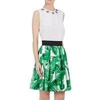 Banana Leaf Print Skirt 2017 Ladies Retro Elastic Waist Swing Skirt Pattern Fashion Women Casual Flare Pleated A Line Skirts
