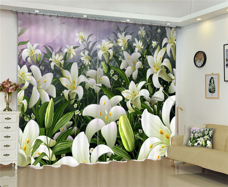 Curtains Luxury Blackout 3D Window Curtains For Living Room office Bedroom Drapes cortinas Rideaux Customized size White FLOWER