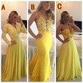 2016 elegante Appliques vestido de fiesta sin mangas piso de longitud Prom vestidos venta al por mayor de tres amarillo diferentes estilos baile vestidos largos
