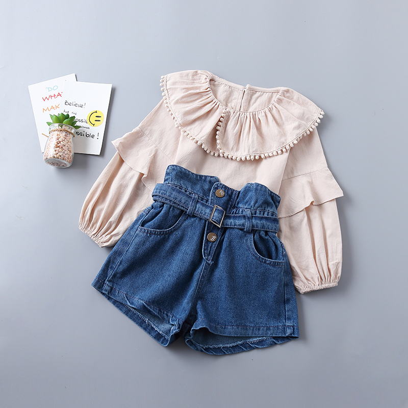 0-6 Years Excessive High quality Lady Clothes Set 2019 New Spring Style Tiered Ruched Stable Shirt + Denim Pant Child Kids Clothes
