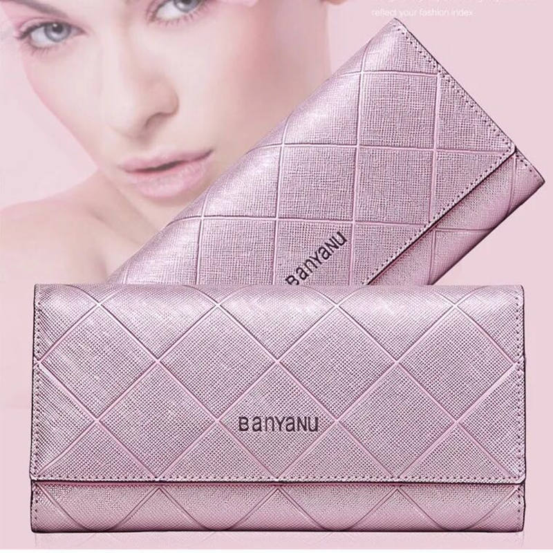 New Fashion design 2017 women rhombus wallets female leather purse high quality women clutches card holders coin keeper bolsas in Wallets from Luggage Bags