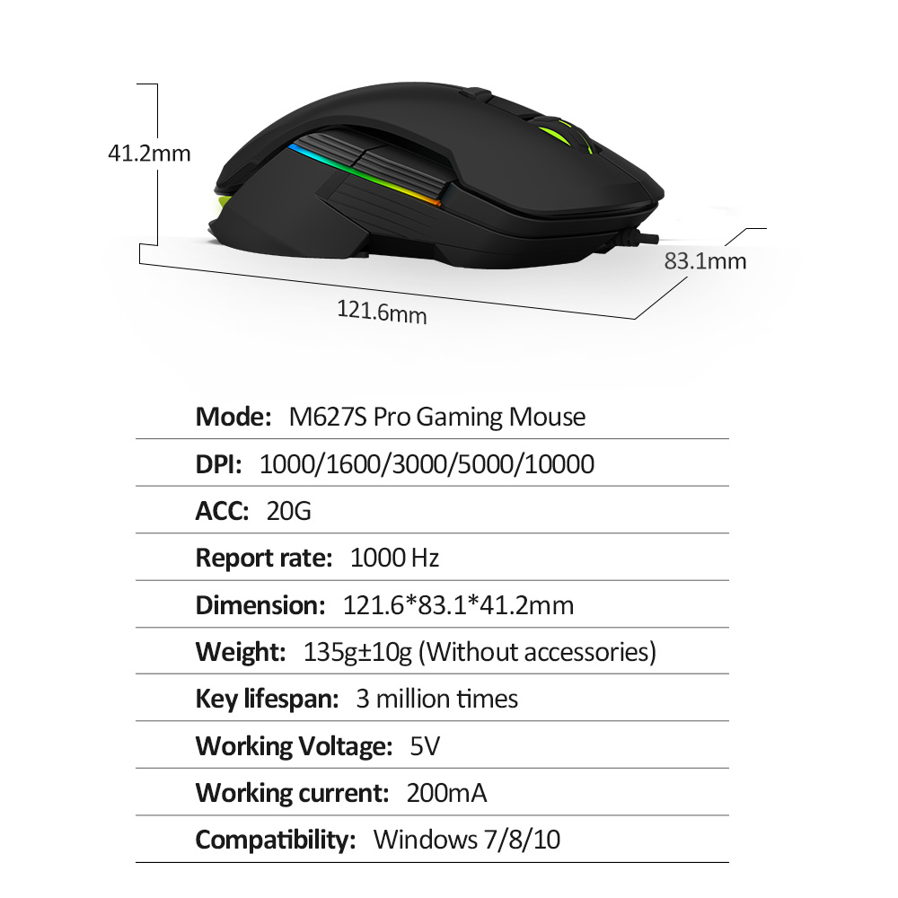 Image 5 - Delux M627S DIY Side Wings Wired Gaming Mouse 8 Buttons 5000 DPI RGB Backlight Optical Left and Right hand Mice For PC Game User-in Mice from Computer & Office