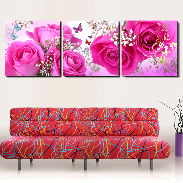 Unframed Canvas Wall Pictures Living Room Pink Rose Chinese Modular ...