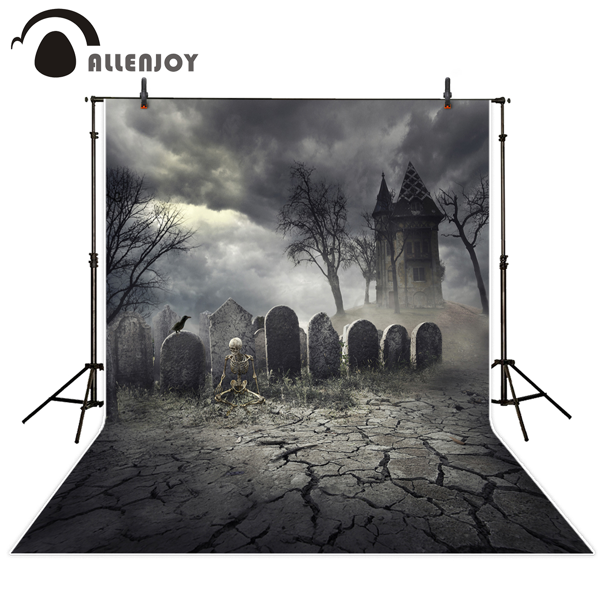 Allenjoy photography background terror cemetery skeleton Castle Halloween theme backdrop professional photo background studio capisco super city photography backdrop theme building studio super hero photo background prop for photography party