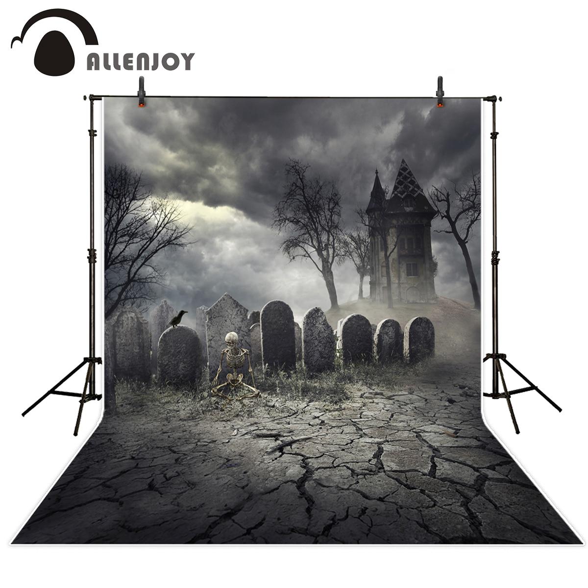 Allenjoy photography background terror cemetery skeleton Castle Halloween theme backdrop professional photo background studio цена