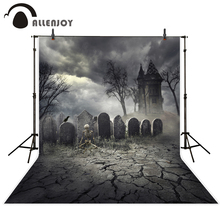 Allenjoy photography background terror cemetery skeleton Castle Halloween theme backdrop professional photo studio