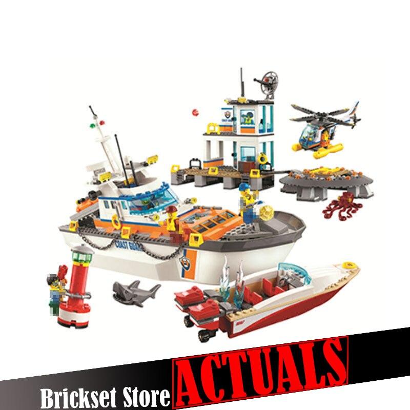Bela 10755 844Pcs City Series Police Coast Guard Headquarters Base Building Blocks Bricks Toys for children gift legoINGly 60167 конструктор lego city coast guard штаб береговой охраны 60167