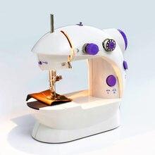 Мини-электрическая ручная швейная машина с двойной регулировкой скорости, светильник с AC100-240V для ног, швейная машина с двойными нитями