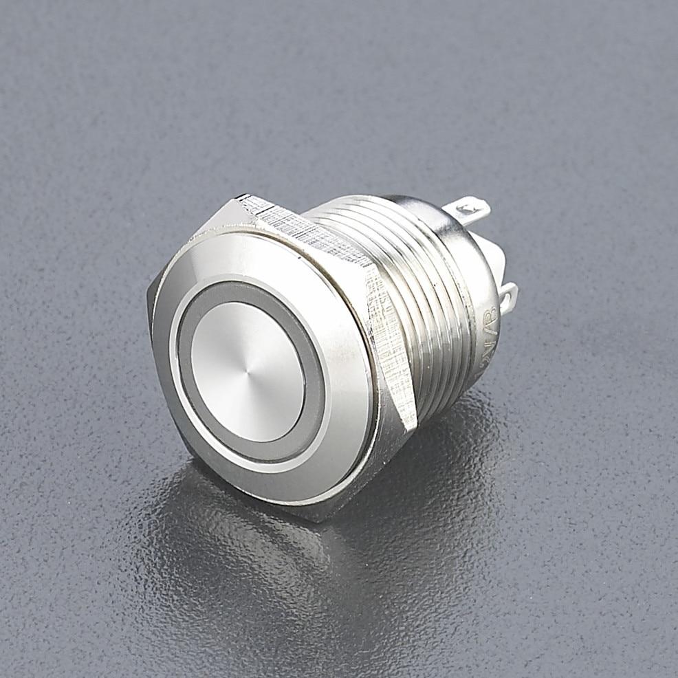 16mm waterproof illuminated switch metal push button switch flat round momentary 1NO