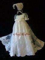 Вышивка бисером Крещение платье платья для малышек Одежда для новорожденных белый/слоновая кость индивидуальный заказ Кружево крещение ха