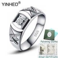 Gesendet Silber Zertifikat! YINHED Original Solide 925 Silber Hochzeit Ringe für Männer und Frauen 0.75ct AAA Zirkon Edlen Schmuck ZR594