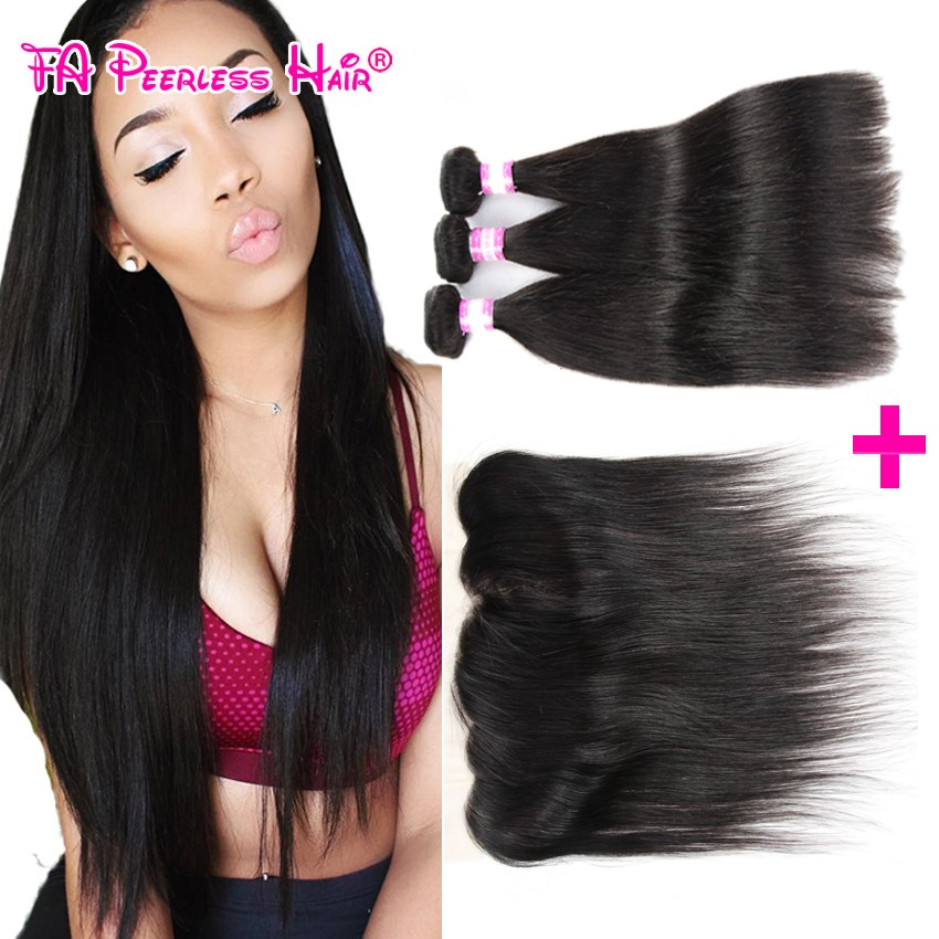 Mink Brazilian Virgin Hair with Frontal Closure Bundle,Brazilian Straight Hair With Closure,3pcs Hair Bundles with 1pc Closure
