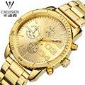 cadisen 2016 Clock Gold Fashion Men Watch Stainless Steel Quartz Watches Wrist Watch Wholesale Gold Watch Men Swiss