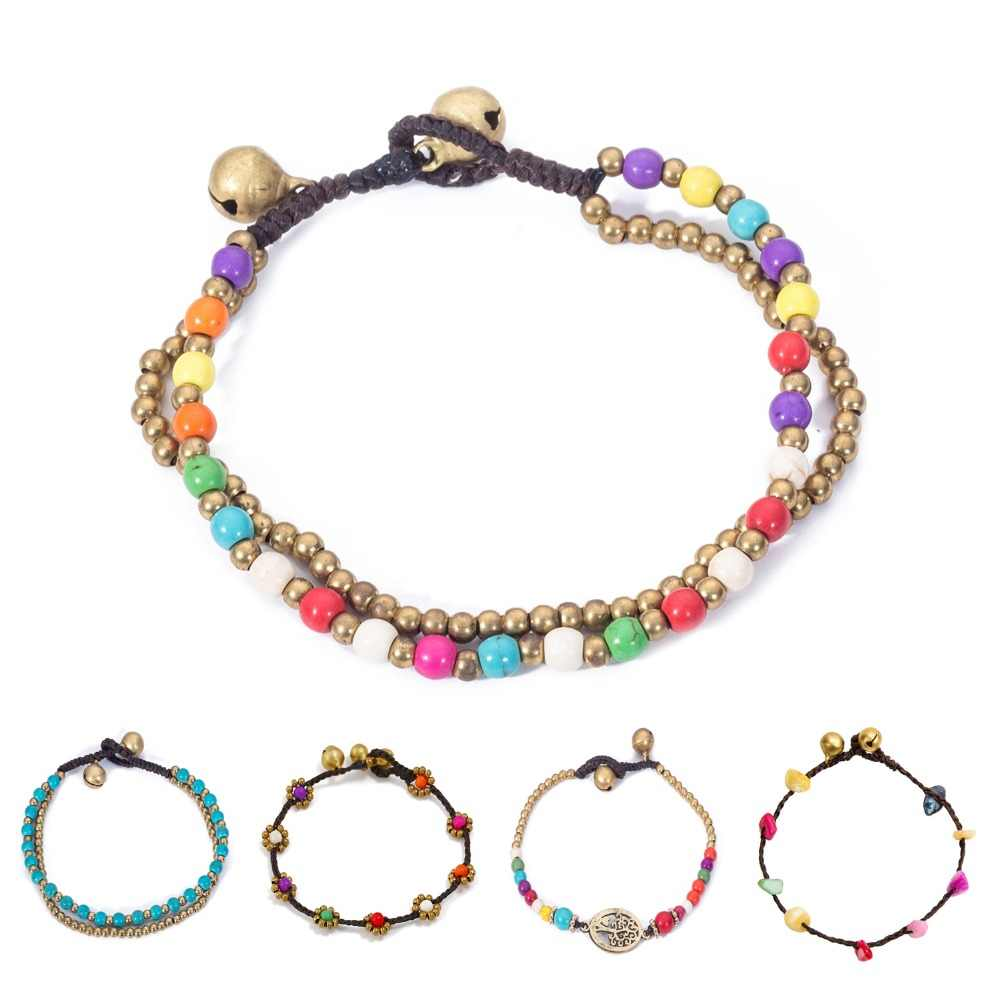 Handmade Stone Beaded Colorful Chain Retro Gold Bell Wax Rope Bracelets for Women Bohemian Jewelry Fashion Woman Bracelets