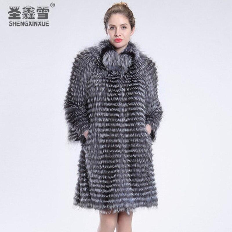 Mode Fox Renard De Fourrure silver Survêtement Pardessus Veste Réel Argent Style Rayé C2 Manteaux Femmes Vêtements c1 nqSwcaYfS