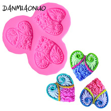 Food Grade Heart shaped rose Mold Cake Silicone Lace Mat Moule 3d Chocolate Molds Lollipop Decorations For Cakes Candy