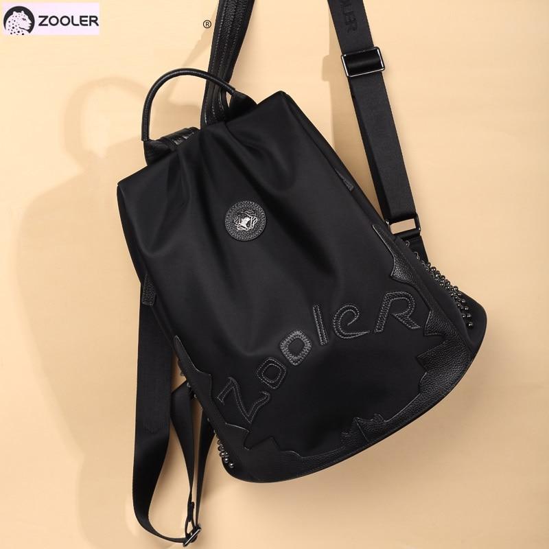 Zooler top Nylon cowhide backpack luxury backpacks large capacity women backpack letter backpacks travel bags lady