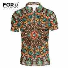 FORUDESIGNS Men's Brand Vintage Polo Shirt, Fashion Max Breathable African Fabric Polo For Men, Male Summer Vogue Polo Shirts