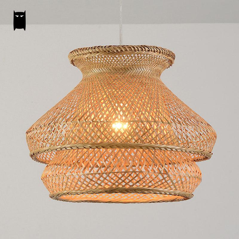 Bamboo Wicker Rattan Shade Chandelier Light Fixture Anese Vintage Asian Creative Hanging Ceiling Lamp Dining Table Study Room In Chandeliers From Lights