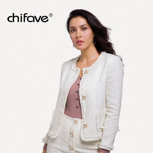 2018 New chifave Thin Jackets Plus Size for Women Spring Autumn Vintage Jacket Female Off-white Small Fragrance Coat and Jackets
