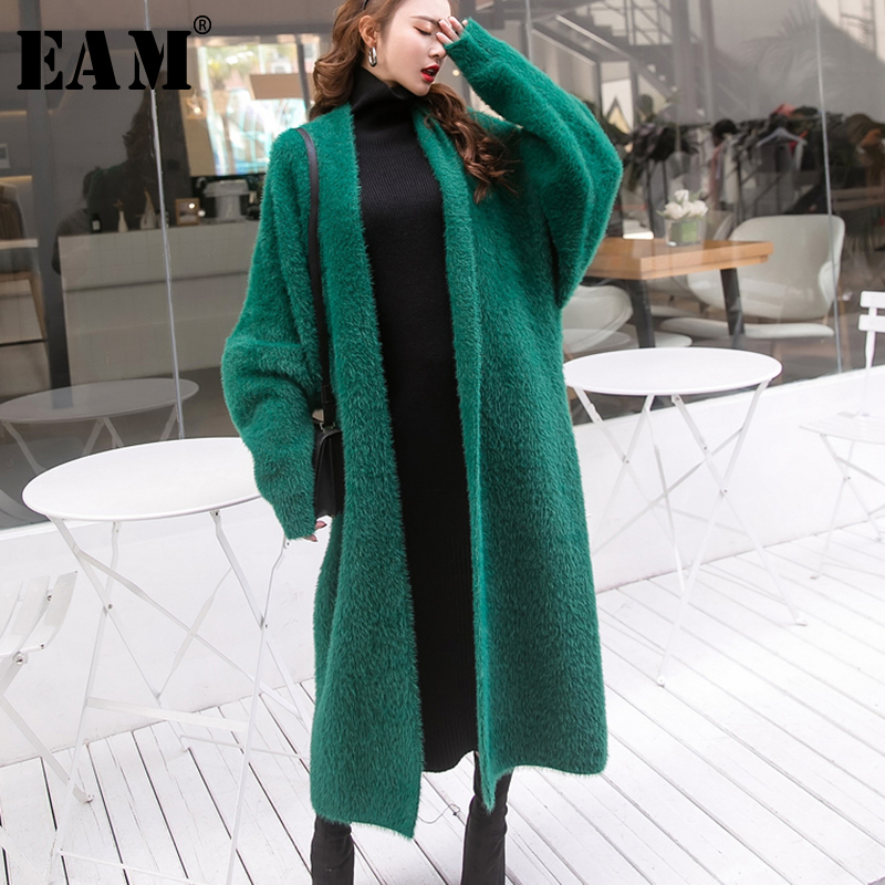 [EAM] 2019 Spring Woman New Solid Color O-neck Long Sleeve Knitting Loose Long Pullovers Big Size Sweater All Match LI135