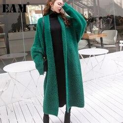 [EAM] 2019 новый осенний свободный черный свитер с v-образным вырезом и длинным рукавом большого размера, длинный вязаный утолщенный женский мод...