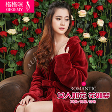 Long design lovers thickening flannel gown feminine autumn and winter bathoses lounge plus measurement one piece sleepwear bathrobes