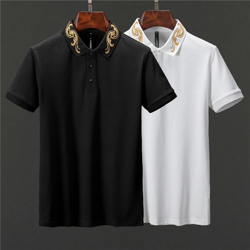 Free shipping 2019 Handsome men   polos   short sleeve shirts cotton for mens lapel   polo   casual slim male tops