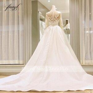 Image 4 - Fmogl Vestido De Noiva Long Sleeve Vintage Wedding Dresses 2020 Sexy Appliques Chapel Train Matte Satin Lace Bride Gowns